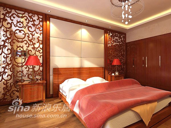 中式 三居 卧室图片来自用户2757926655在金隅万科 新中式风格96的分享