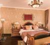 略有不同的暗花壁纸让卧房看上去更显舒适