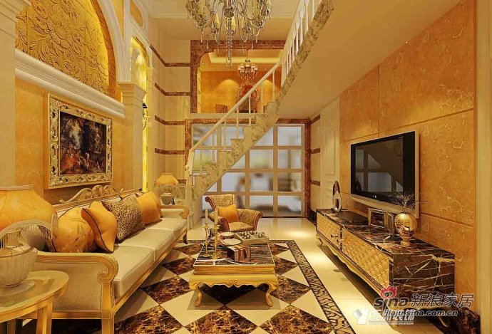 欧式 复式 客厅图片来自用户2746948411在【奢华静谧】90平米小复式欧式奢华风36的分享