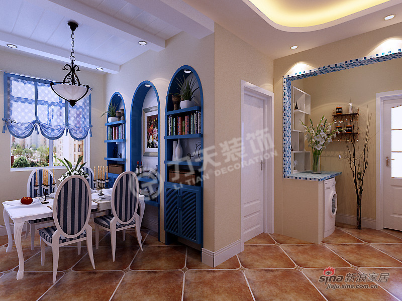 地中海 二居 餐厅图片来自阳光力天装饰在两室两厅地中海风格美家68的分享