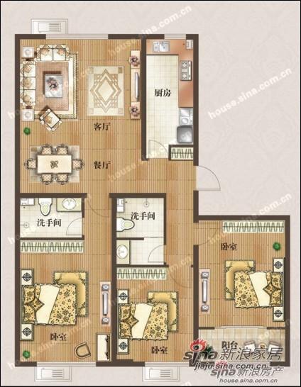 中式 三居 户型图图片来自用户1907659705在5万打造御景城新中式风格家装37的分享