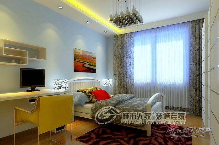 简约 二居 卧室图片来自用户2557979841在90平米现代风格赏析37的分享