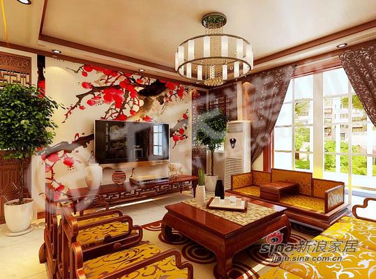 中式 三居 客厅图片来自阳光力天装饰在135平米中式古典三居22的分享