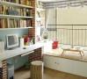 临时客房:这是一个书房的小飘窗,地台抬高约20公分,底部更多的储物空间,上面是休闲的小角落,还可以充当临时客房,探亲节日时就不用担心啦。