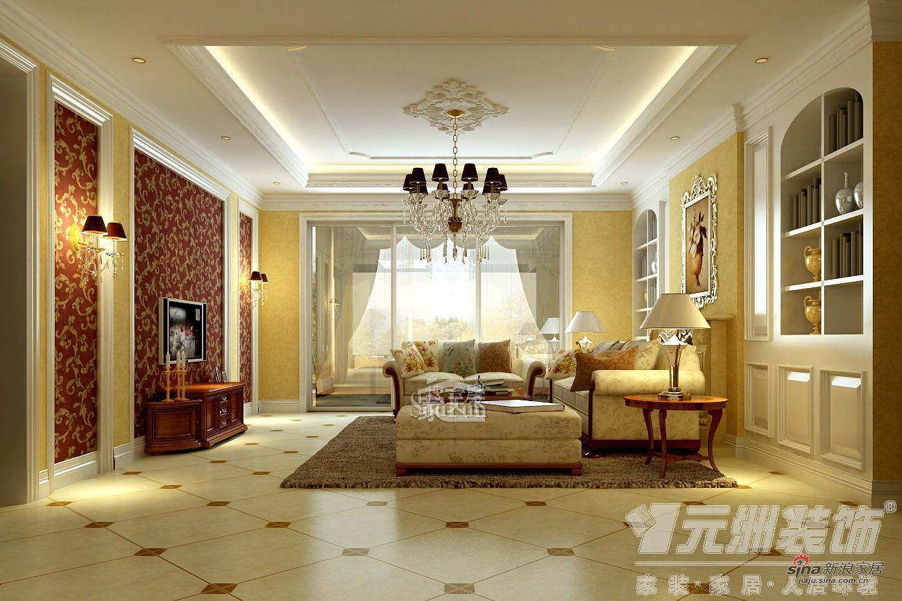 欧式 三居 客厅图片来自用户2746948411在147平米欧美风格奢华三居66的分享