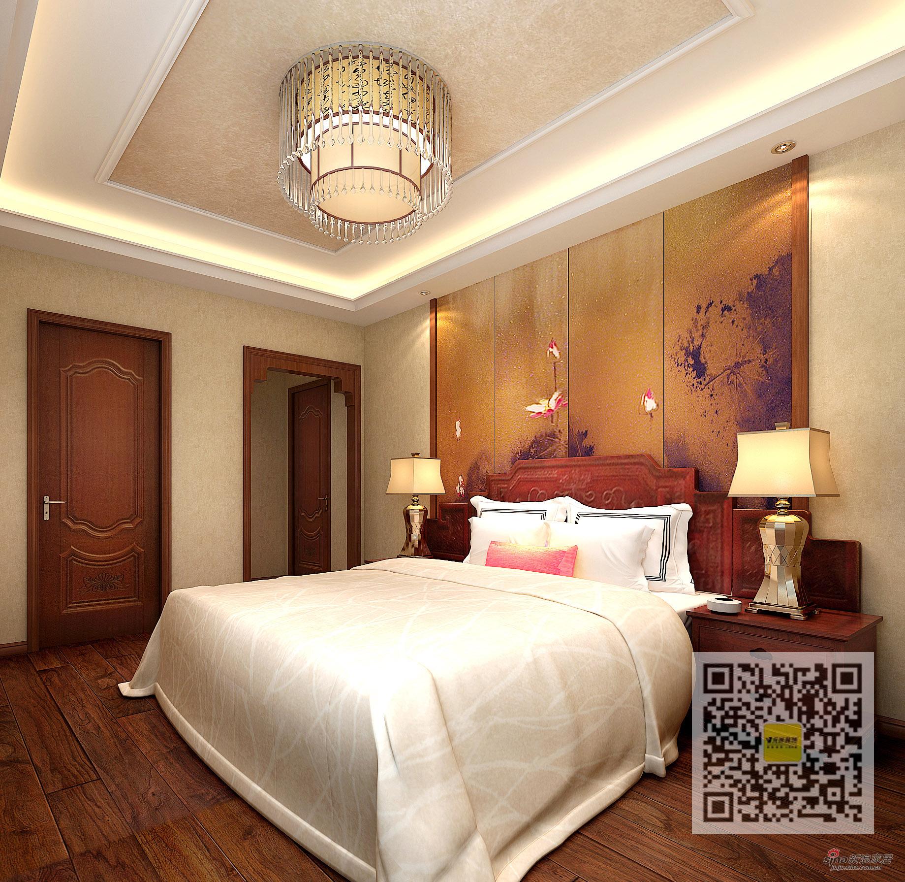 中式 三居 卧室图片来自用户1907659705在新中式风格三居室71的分享