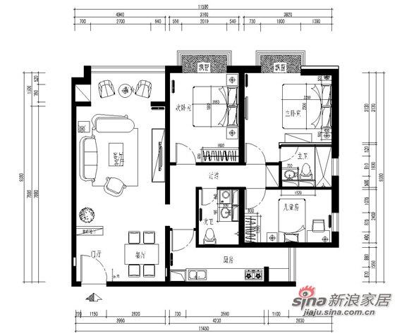 欧式 三居 客厅图片来自用户2557013183在6万装修95平米简欧三居57的分享