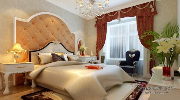 卧室的背景墙以白色石膏线条为造型