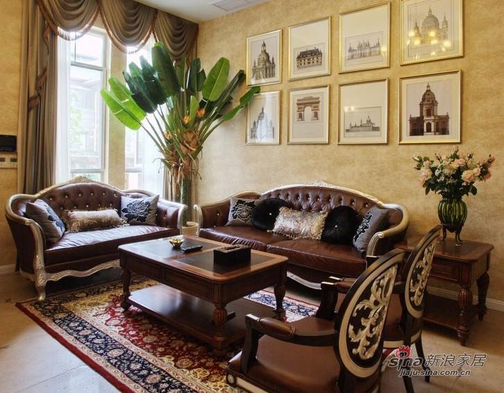 美式 复式 客厅图片来自家装大管家在【高清】135平大气美式雅致之家86的分享