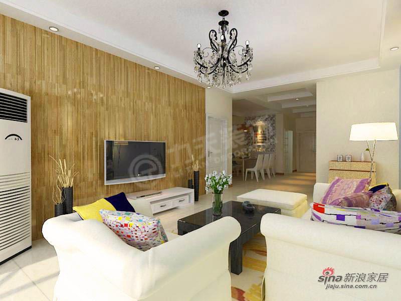 简约 二居 客厅图片来自阳光力天装饰在天津大都会-2室2厅2卫-现代简约25的分享