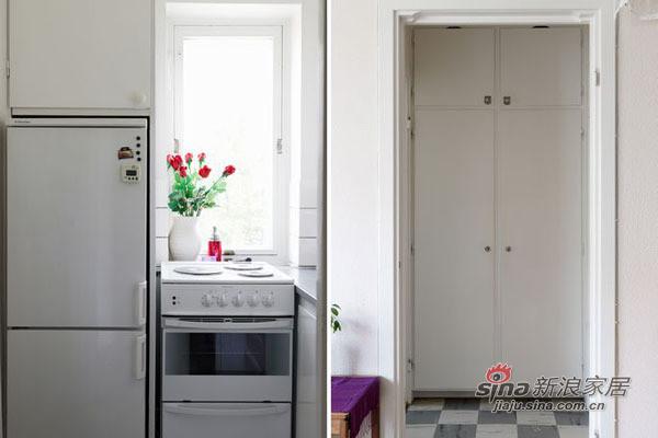 卧室的设计和小户型中其他空间风格一脉相承,白色的床品有着简洁的风格