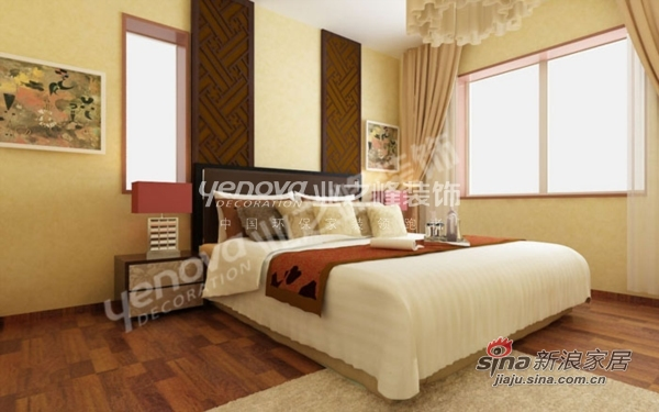 中式 二居 卧室图片来自用户1907659705在活色生香的新中式风格 万科依润园两居室61的分享
