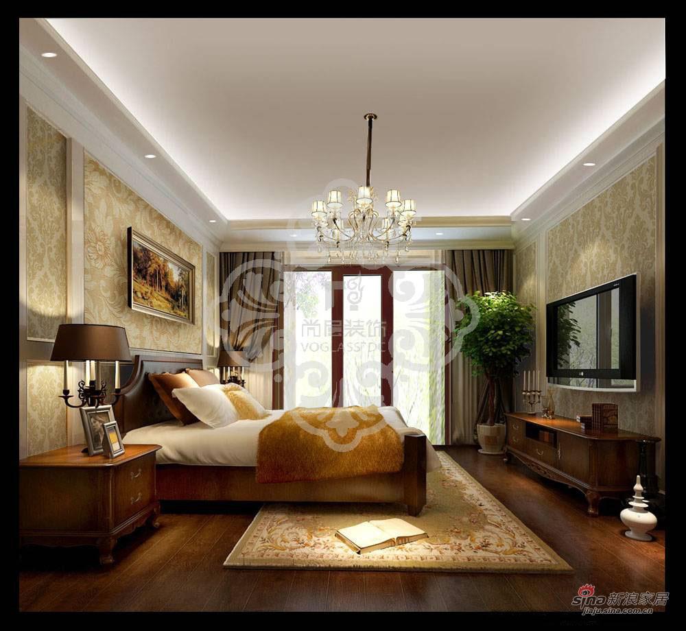 美式 别墅 卧室图片来自用户1907685403在天津尚层装饰复地温莎堡460㎡别墅装修效果图93的分享