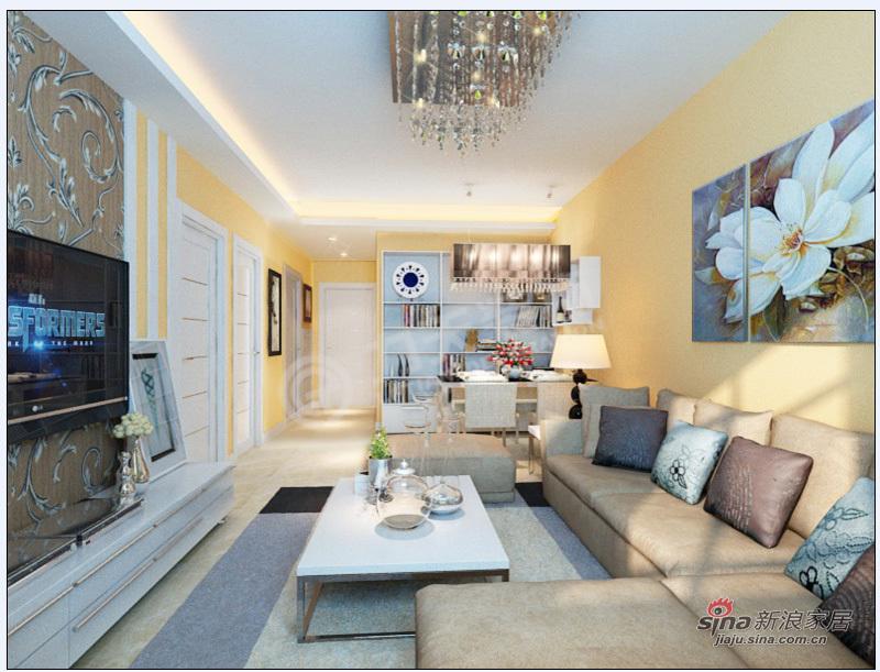 简约 二居 客厅图片来自阳光力天装饰在2室2厅现代甜美可爱简约风格美家34的分享