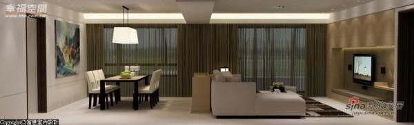 顶上大梁正好于客厅与餐厅中贯穿