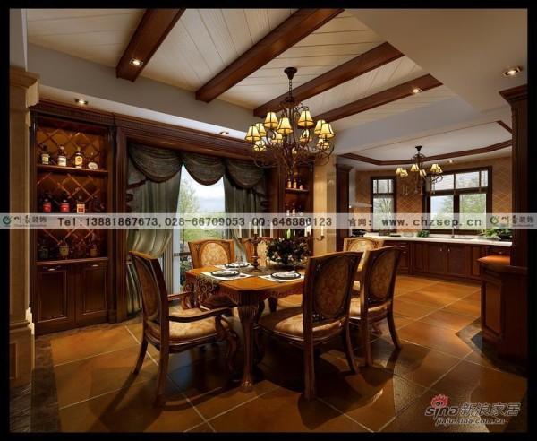别墅装修美式餐厅效果图