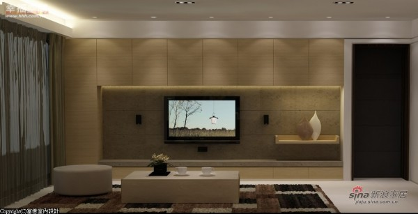 电视墙-以橡木与石材打造电视墙赋予空间大