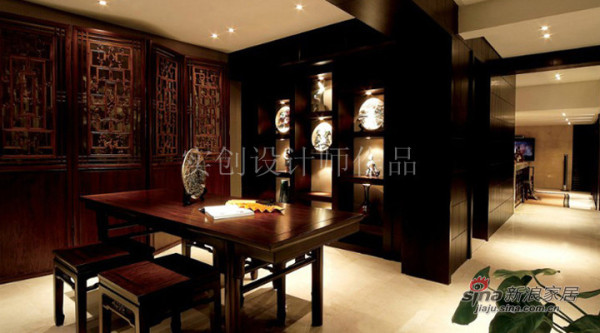 汀湘十里别墅中式风格装修设计-书房