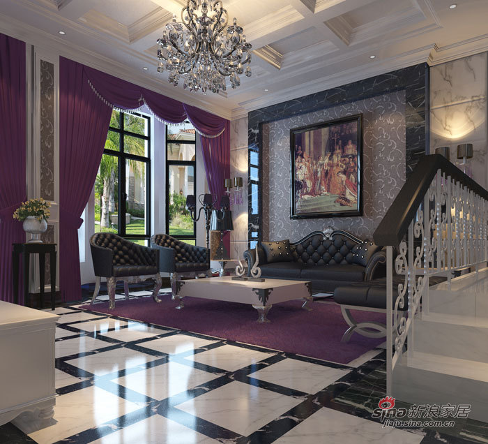 欧式 三居 客厅图片来自用户2746948411在15W欧式风格半包紫苹果作品33的分享