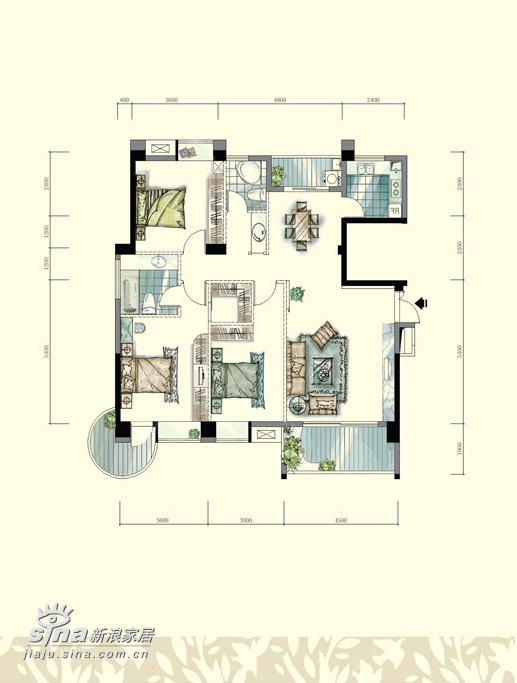 简约 三居 户型图图片来自用户2556216825在九重天13栋4楼A座91的分享