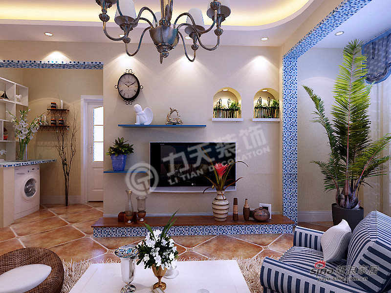 地中海 二居 客厅图片来自阳光力天装饰在两室两厅地中海风格美家68的分享