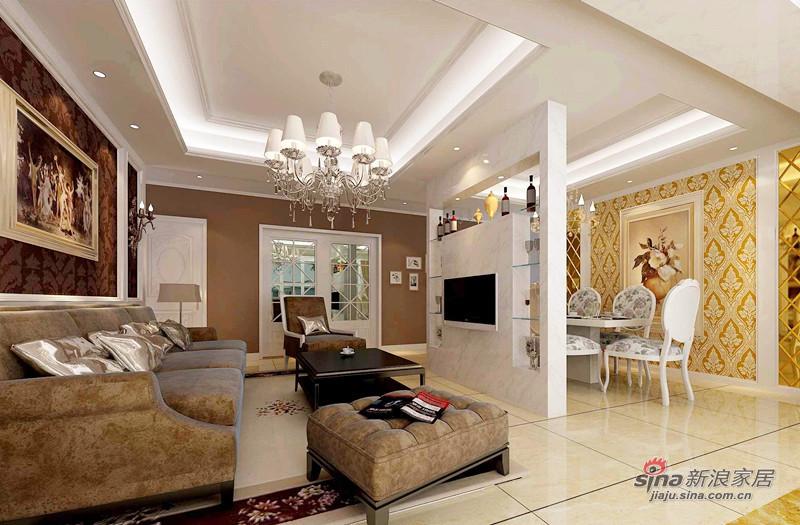 欧式 复式 客厅图片来自用户2772856065在128平欧式高贵典雅3居室爱家44的分享