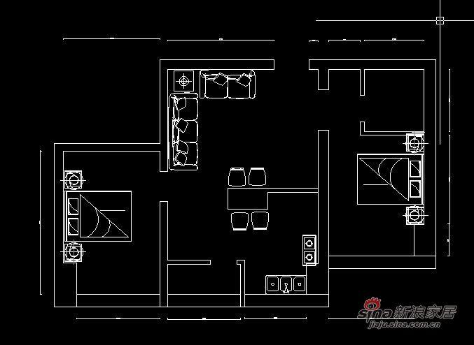 欧式 二居 户型图图片来自阳光力天装饰在85平米时尚高贵两居室57的分享