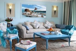 地中海 二居 客厅 白富美图片来自家装大管家在【高清】8万装105平蓝白清爽地中海家72的分享