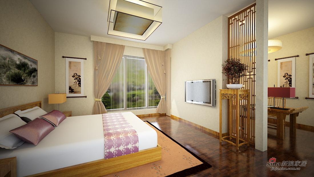 中式 二居 卧室图片来自用户1907662981在5.3万打造 渤海明珠 两居 中式风格74的分享