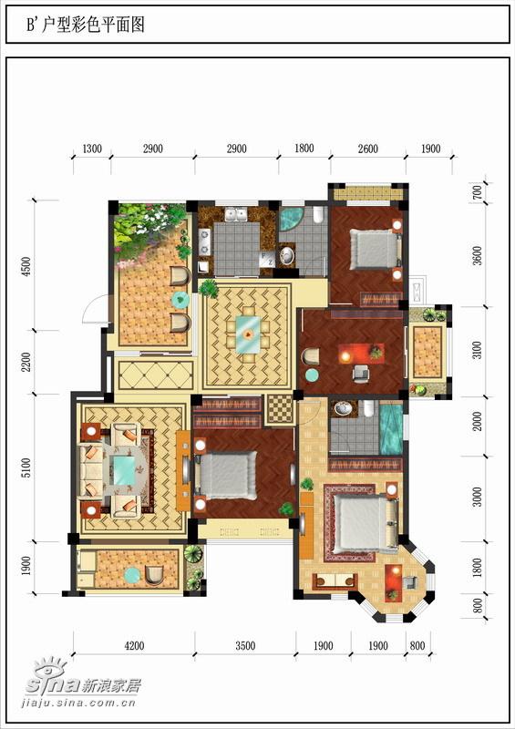简约 四居 户型图图片来自用户2738829145在某小区87的分享