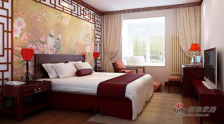 中式 三居 卧室图片来自用户1907658205在12万装修新古典中式130平北京风景三居案例22的分享