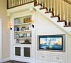 客厅楼梯下面做这样的电视柜创意不错