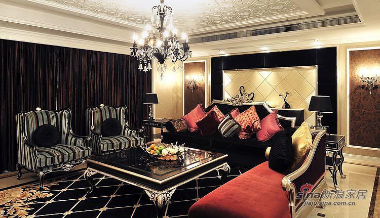 新古典 三居 客厅图片来自装修微日记在【高清】116平新古典魅惑大气3居97的分享