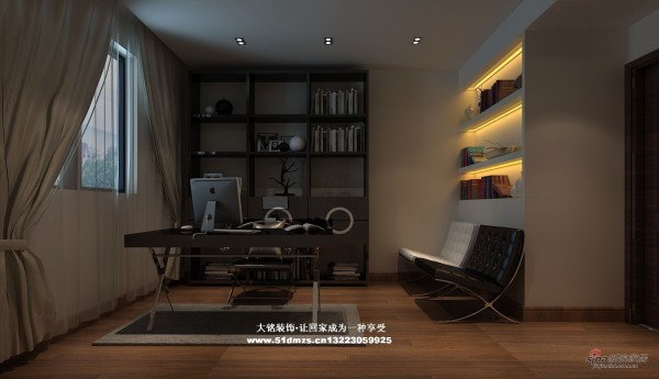 简约风格家庭装修设计-书房设计效果图