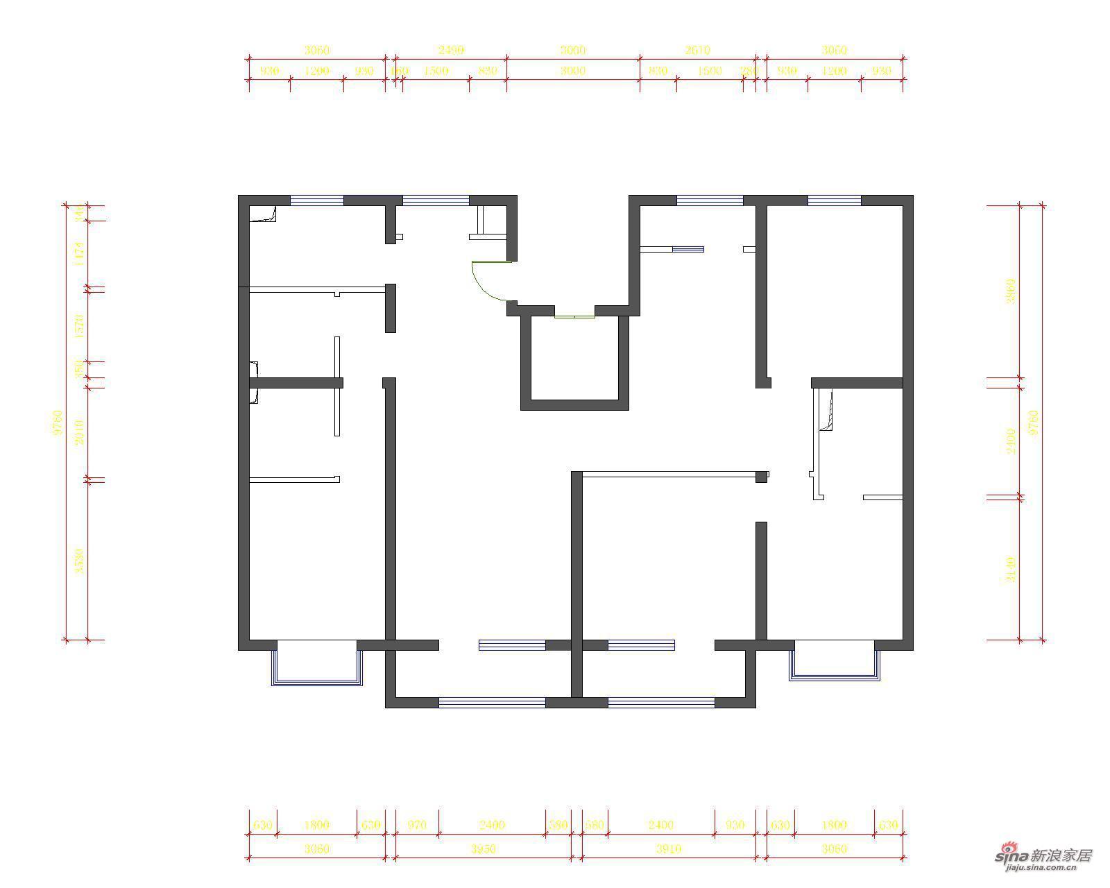 简约 四居 户型图图片来自用户2737759857在山语城(172平米)现代简约设计案例19的分享