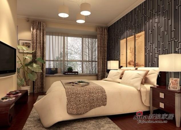 中式 三居 卧室图片来自用户1907662981在12万装朝阳148平复式新中式3居室36的分享
