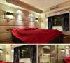 主卧室里宽敞又明亮,大红色的床品洋溢的新