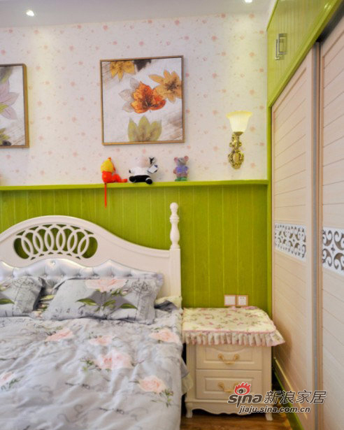 美式 三居 卧室图片来自装修微日记在【高清】11万营造98平清新绿色美式混搭家32的分享
