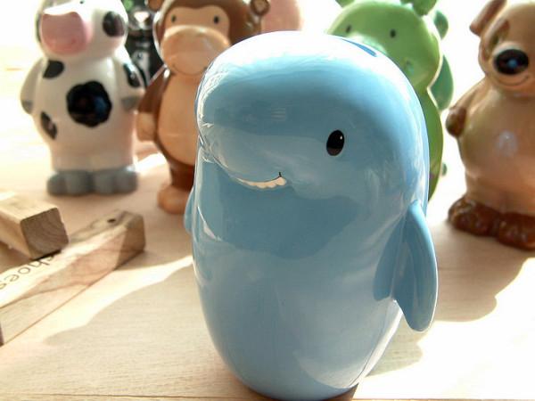 小鲸鱼陶瓷海豚纸币存钱罐
