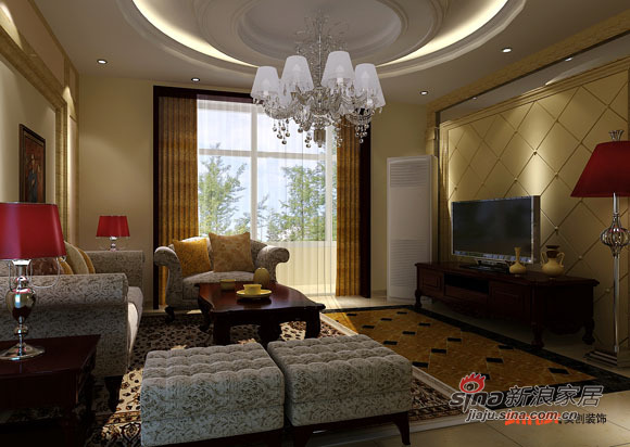 欧式 四居 客厅图片来自用户2772856065在160平米风尚欧式样板间87的分享