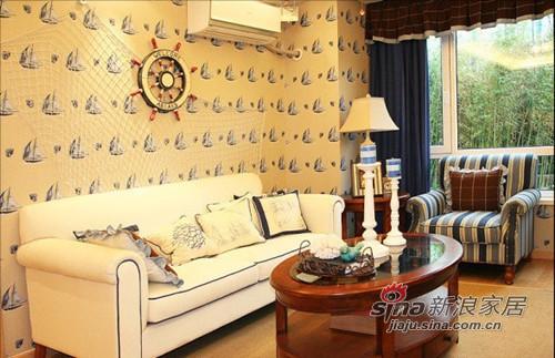地中海 二居 客厅图片来自用户2756243717在夫妻8万简装65平地中海小屋43的分享