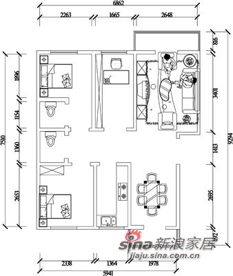 中式 三居 户型图图片来自阳光力天装饰在135平米中式古典三居22的分享
