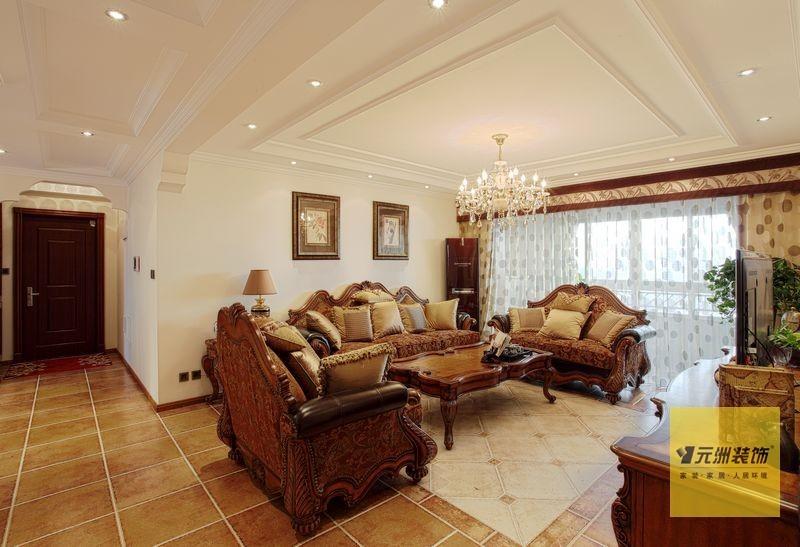 美式 三居 客厅图片来自用户1907685403在北京160平米典雅美式风格实景图43的分享