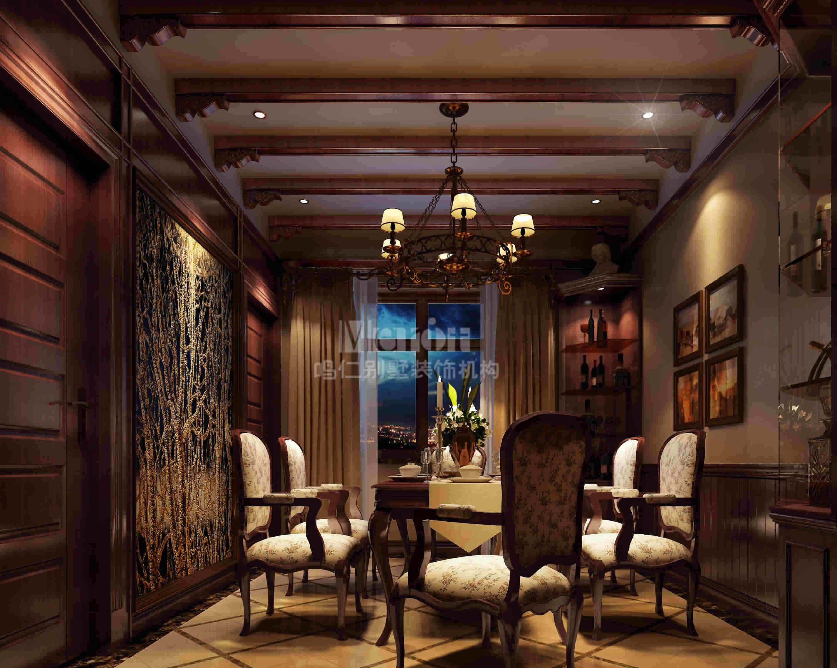 田园 别墅 餐厅图片来自用户2737946093在鸣仁装饰美式田园西山华府78的分享