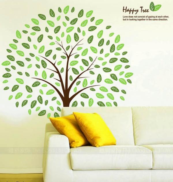 卧室/客厅背景墙贴 happy tree
