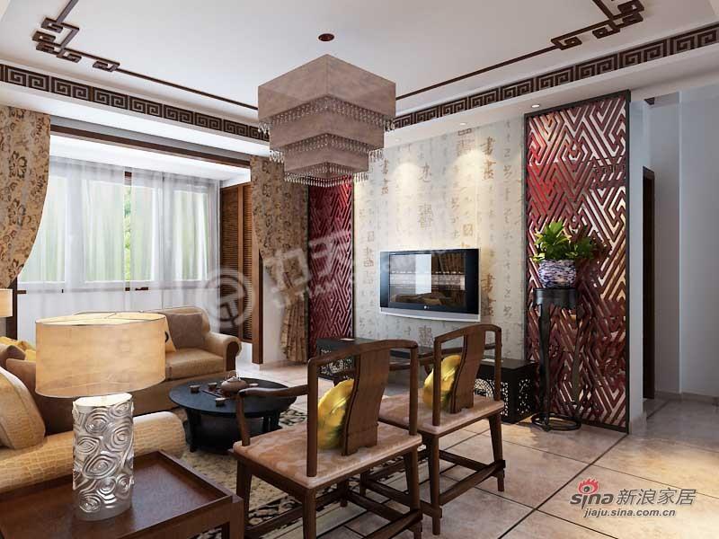 中式 四居 客厅图片来自阳光力天装饰在天津大都会-四室两厅两卫 -新中式风格66的分享