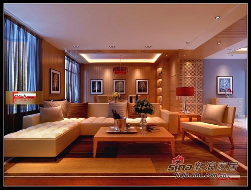 暖色新中式客厅1