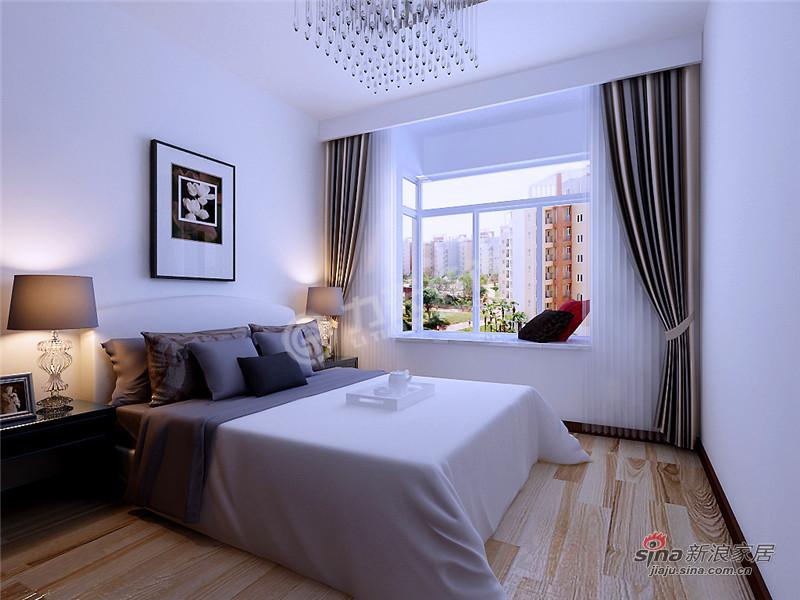简约 三居 卧室图片来自阳光力天装饰在三室两厅现代简约风格家59的分享