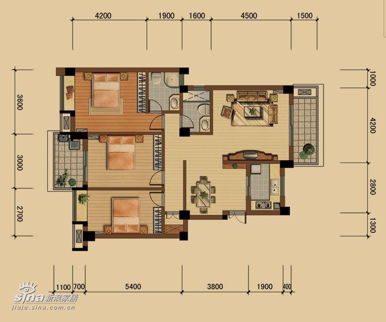 简约 三居 户型图图片来自用户2739378857在华艺苑27的分享