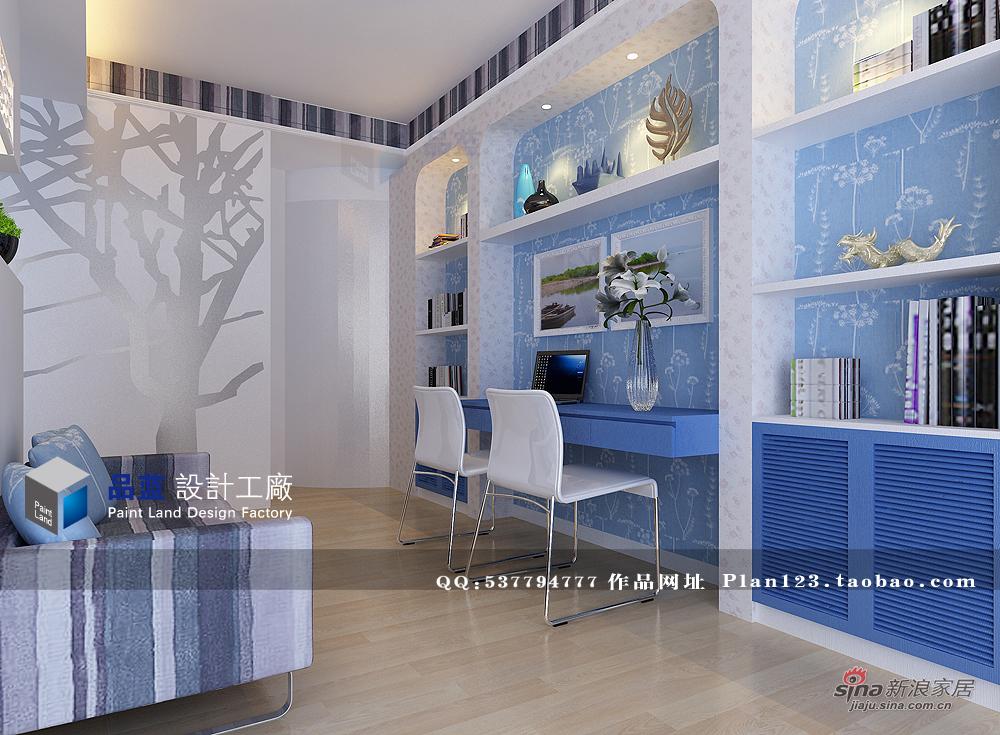 田园 四居 书房图片来自用户2737946093在155平米《蓝色恋人》样板房41的分享